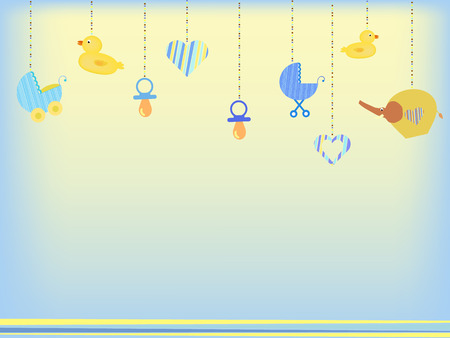 baby shower background with baby toys Vector