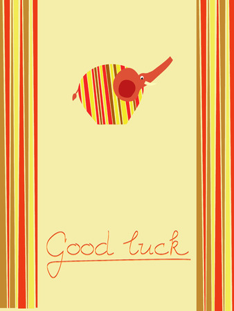 postcard background: Good luck orange postcard background illustration with elephant Illustration