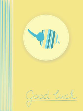 postcard background: Good luck yellow blue postcard background illustration with elephant Illustration