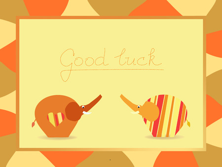 good luck: Good luck yellow orange postcard background illustration with elephant