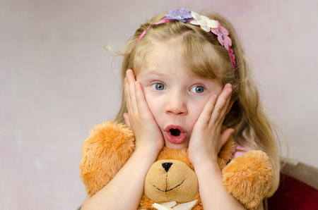 blond girl with surprise expression