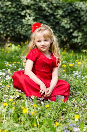 blond girl: beautiful blond girl in flower meadow