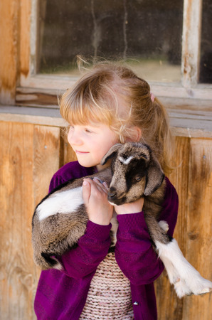 beautiful blond girl holding baby goat Standard-Bild