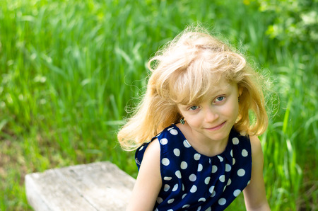 blond girl: portrait of happy blond girl