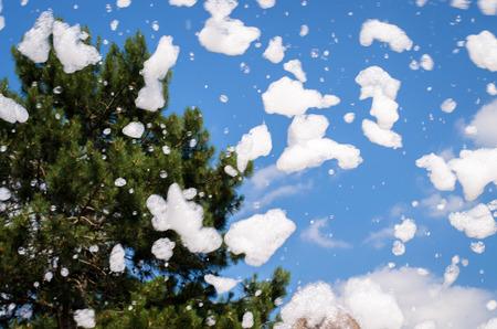 schiuma di sapone: volare pezzi di schiuma di sapone