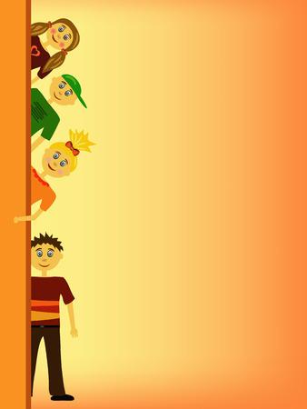 elementary age: group of children illustration background