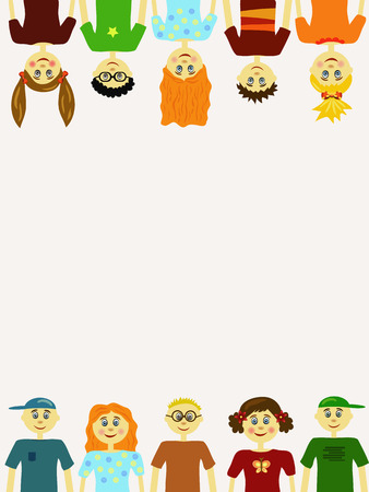 elementary age boys: group of children illustration background