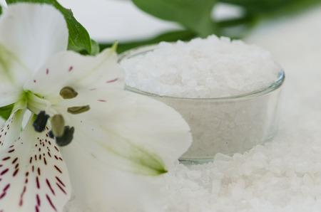 sal: blanco Imagen de fondo del mar de sal con la flor blanca