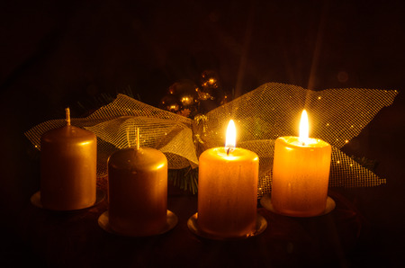 two burning candle in advent wreath