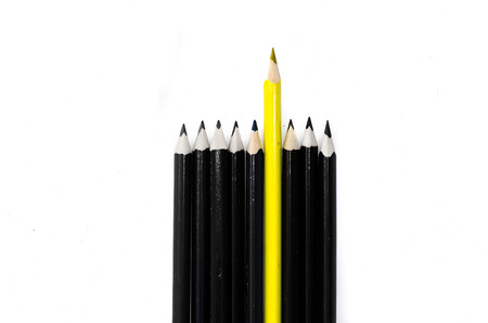 unanimous: group of black pencils and one yellow pencil