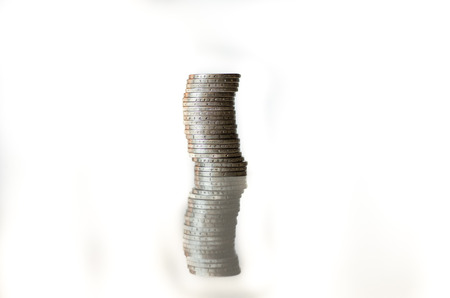 debet: detail of stack of coins