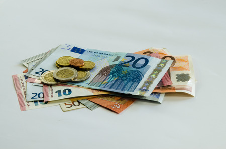 denomination: euro banknotes with different denomination and coins