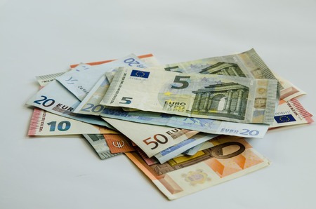 denomination: euro banknotes with different denomination Stock Photo