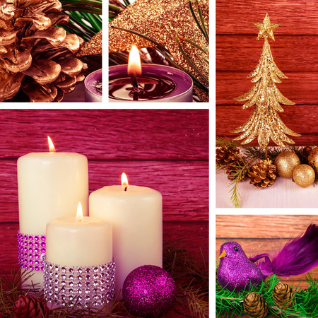 red pink: christmas collage red pink decoration concept