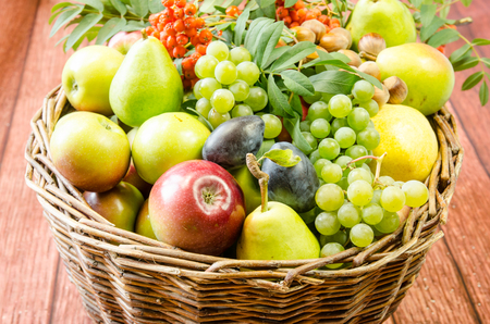 rowanberry: autumn seasonal fruits - red and green apples, grape, pear, rowanberry and plums Stock Photo