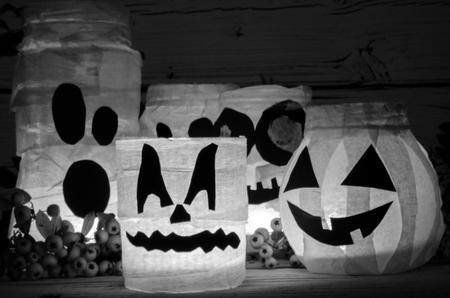 spooky white pumpkin jar decoration