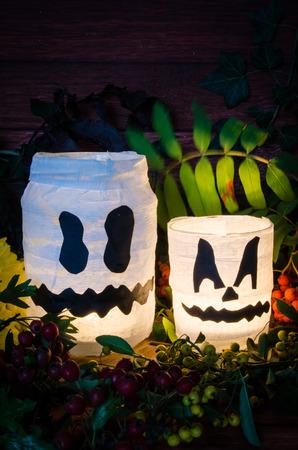 illuminated: two white pumpkin jar decoration illuminated