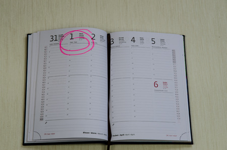 marked: open diary with marked date