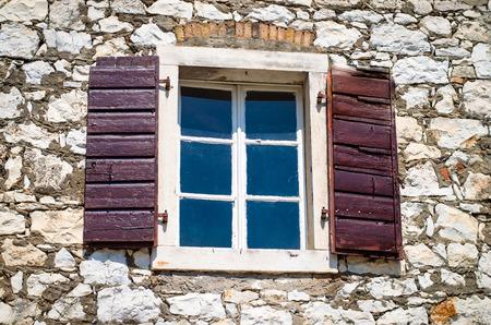 open windows: open windows in stone wall