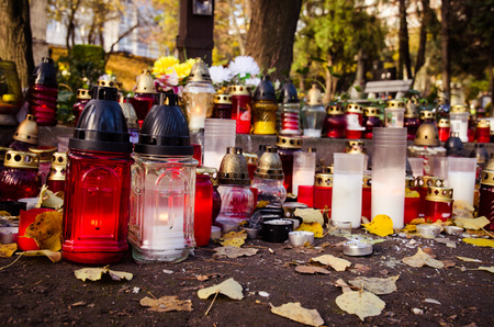 all saints day: burning candles during all saints day Stock Photo