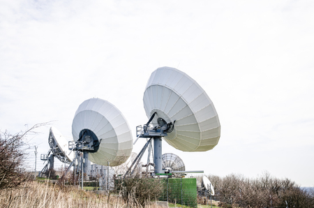 sattelite: large sattelite transmitter in the countryside Stock Photo