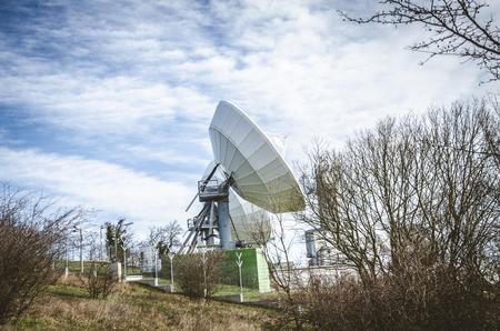 transmitter: large sattelite transmitter in the countryside Stock Photo