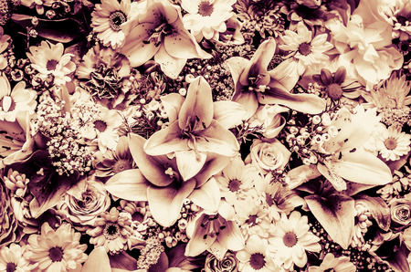 desaturated: floral wall desaturated wintage effect Stock Photo