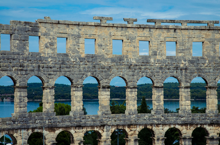 amphitheatre: Roman Amphitheatre Arena in Pula, Croatia Stock Photo