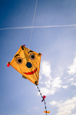 colorful happy smiling kite flying high in blue sky