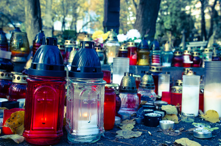 burning candles during all saints day Stock Photo
