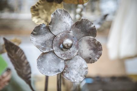 silver metal decorative art flower  스톡 콘텐츠