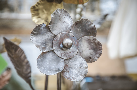 silver metal decorative art flower  Stock Photo
