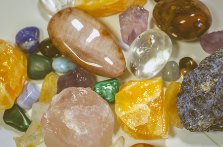 energy healing: mixture of colorful gem stones Stock Photo