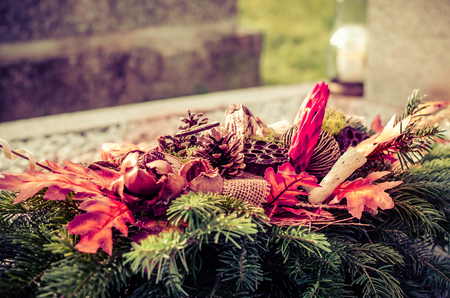 flower decoration on the tomb in All Saints Day  Stock Photo