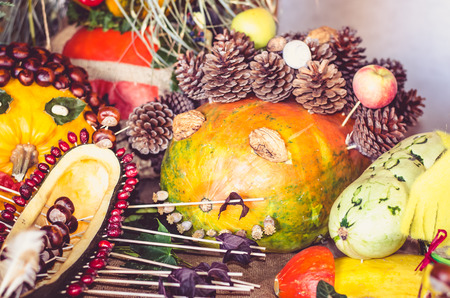 humor: creative funny and scary halloween pumpkins Stock Photo