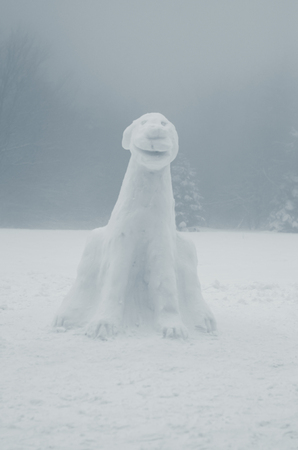 figure of dog from snow in foggy winter weather