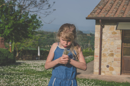 adorable little girl outdoors blowing dandelion flower Imagens