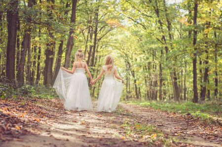 two little girls in dress walking in path among autumnal trees in forest in golden hour atmosphere