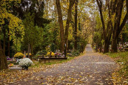 chrześcijańska impreza Wszystkich Świętych na jesiennym cmentarzu Zdjęcie Seryjne