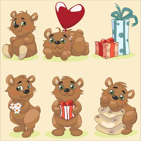 Set of cute cartoon bear posing in different positions and design elements like present box, heart balloon, pillows and camomile flowers.