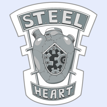 Steel heart design for t-shirt print or fabric. Vectores