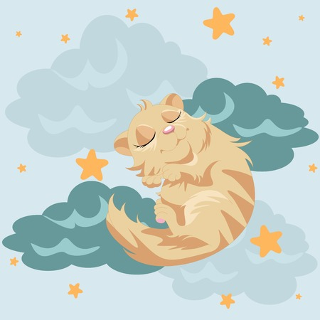 Cute cat sleeping at the cloud. Illustration