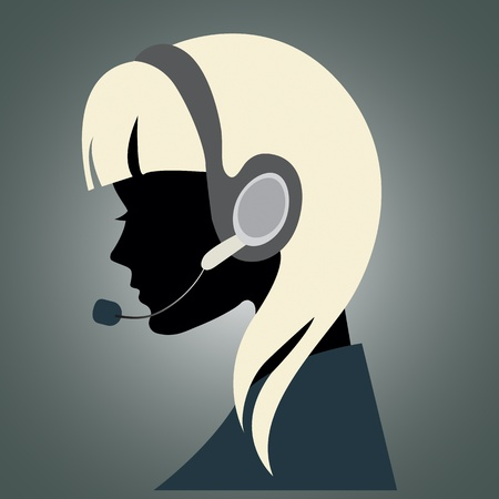 phone operator: Illustration of a young girl with headset  Illustration