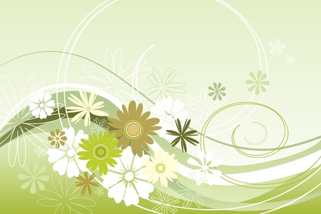 Vector illustration floral theme in green