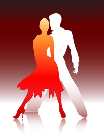 ballroom dancing: Vector illustration of a young couple dancing