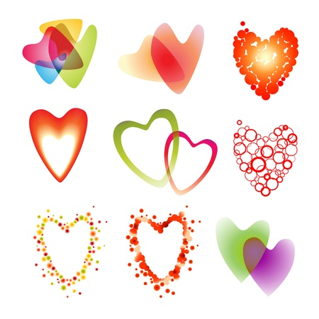 Vector set of a nine heart on white Illustration