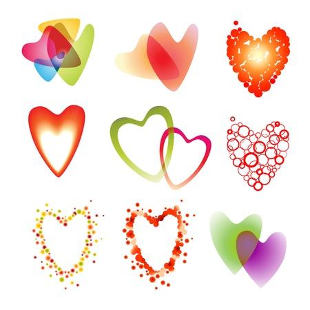 Vector set of a nine heart on white Illustration