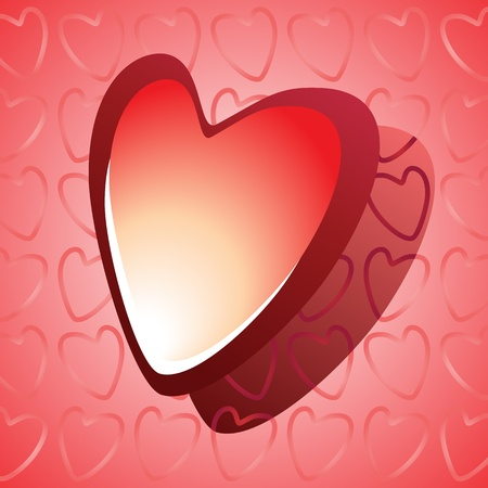 Vector illustration of a red glossy heart