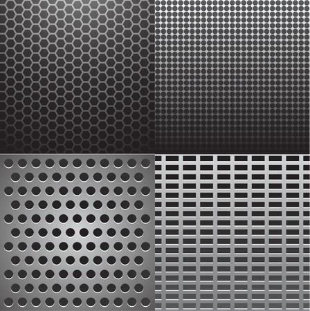 fibra de carbono: Ilustración vectorial de cuatro texturas de metal gris