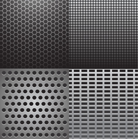 Vector illustration of four grey metal textures Illustration